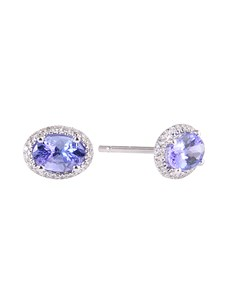jewellery: Silver 1.50ct Oval Tanzanite and Cubic Halo Studs!
