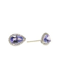 jewellery: Silver 1.56ct Pear Tanzanite And Cubic Halo Studs!