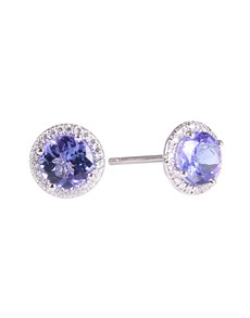 jewellery: Silver 2.16ct Round Tanzanite and Cubic Halo Studs!