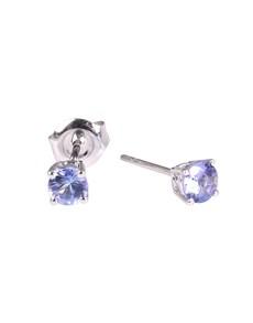 jewellery: 9KT White 0.84ct Round 4 Claw Tanzanite Studs!