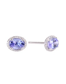 jewellery: 9KT 1.06ct Oval Tanzanite and Diamond Halo Studs!