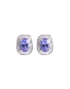 jewellery: 9KT 1.26ct Oval Tanzanite and Diamond Earrings!