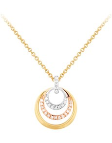 jewellery: 9KT Tri Colour 0.07ct Diamond Necklace!