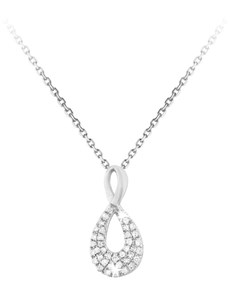 jewellery: 9KT Tear Drop 0.10ct Pave Diamond Necklace!