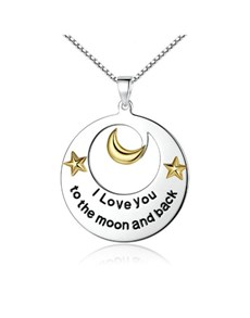 jewellery: Silver Round Stars and Moon Necklace!