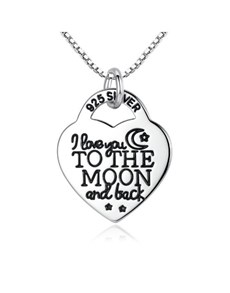 jewellery: Silver Heart Love You To The Moon Necklace!