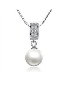 jewellery: Silver Cubic And Pearl Drop Necklace!