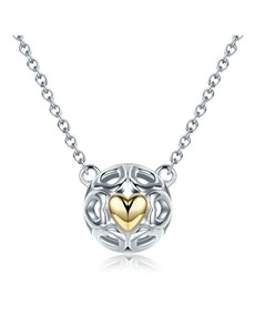 jewellery: Silver Round And Yellow Heart Necklace!