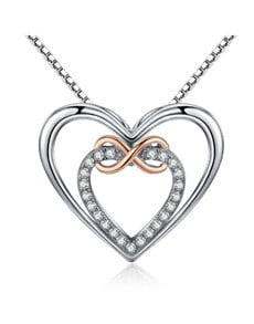 jewellery: Silver Cubic Double Heart And Infinity Necklace!