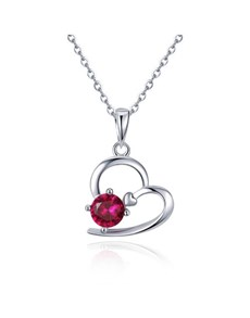 jewellery: Silver Red Cubic Heart Love Necklace!