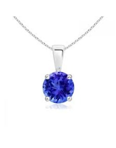 jewellery: Silver Claw Set Round Tanzanite Necklace!