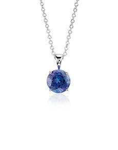 jewellery: Silver 1.50ct Round Tanzanite Solitaire Necklace!