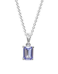jewellery: Silver 0.76ct Emerald Tanzanite Solitaire Necklace!