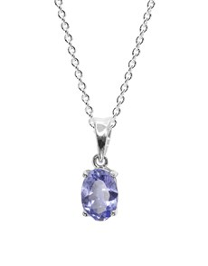 jewellery: 9KT 0.56ct Oval 4 Claw Tanzanite Necklace!