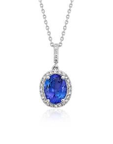 jewellery: 9KT 0.57ct Oval Tanzanite and Diamond Necklace!