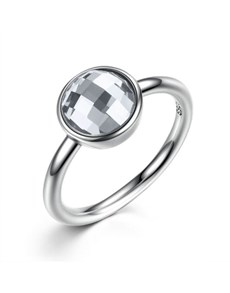 jewellery: Silver Clear Cubic Solitaire Ring!