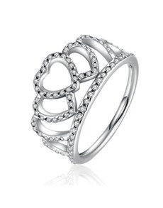 jewellery: Silver Heart Crown Design Cubic Ring!