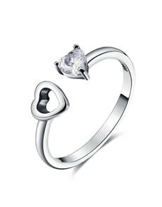 jewellery: Silver Double Heart Open Ended Ring!
