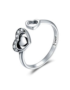 jewellery: Silver Pave Double Heart Open Ring!