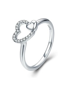 jewellery: Silver Double Heart Cubic Ring!