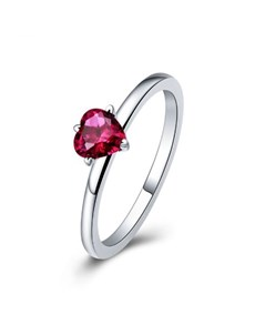 jewellery: Silver Red Cubic Heart Solitaire Ring!