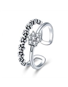 Silver Cluster Cubic Open Double Band Ring