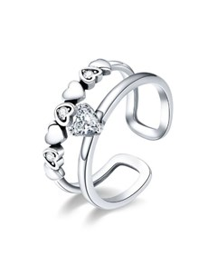 jewellery: Silver Heart Cubic Open Double Band Ring!