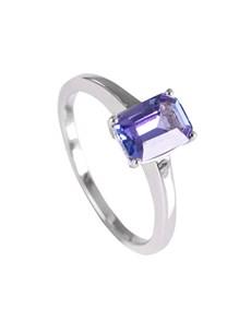 jewellery: Silver 1.34ct Emerald Cut Tanzanite Solitaire Ring!