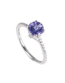jewellery: Silver Round 1.14ct Tanzanite and Cubic Ring!