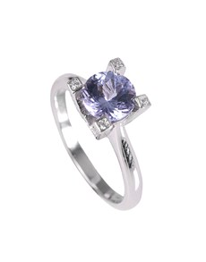 jewellery: Silver Round 0.86ct Tanzanite and Cubic Ring!