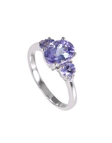 jewellery: Silver Oval 1.96ct Tanzanite and Cubic Ring!
