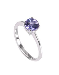 jewellery: 9KT White 1.12ct Round Tanzanite Knife Edge Ring!