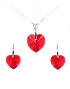 Sterling Silver Heart Swarovski Crystal Set
