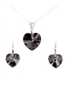 jewellery: Swarovski Crystal Heart Sterling Silver Set!