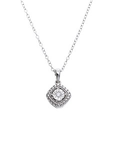 jewellery: 9KT White Gold 0,02ct Diamond Necklace!