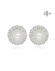 jewellery: Silver Round Pearl and Cubic Earrings!