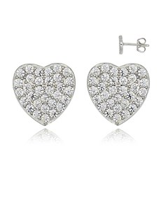 Silver Cubic Pave Heart Studs