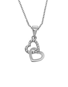 jewellery: Silver Double Heart Cubic Necklace!