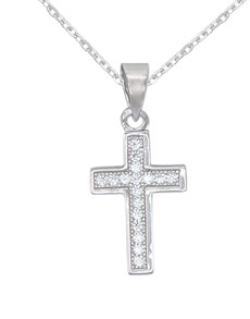 jewellery: Silver Pave Cubic Cross Necklace!