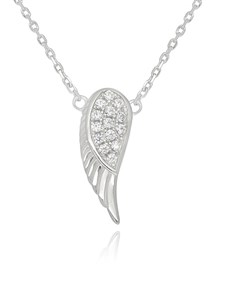 jewellery: Silver Cubic Angel Wing Necklace!