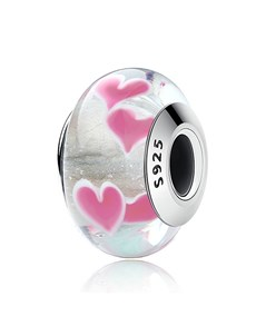 Silver and Glass Hearts Bead