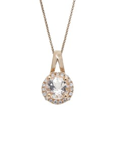 jewellery: 10KT Rose Round Morganite Halo Necklace!