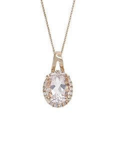 jewellery: 10KT Rose Morganite Oval and Round Necklace!