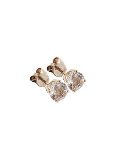 jewellery: 10KT Rose Round Solitaire Claw Morganite Studs!