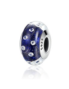jewellery: Silver Dark Blue and Cubic Murano Glass Charm!