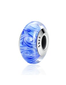 jewellery: Silver Blue and White Swirl Murano Glass Charm!