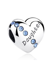 jewellery: Silver 925 Heart Daughter Light Blue Cubic Charm!