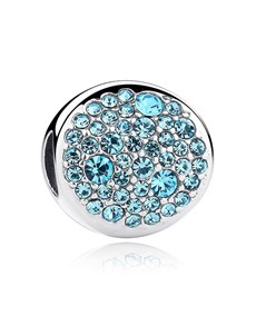 jewellery: Silver 925 Round Light Blue Cubic Charm!
