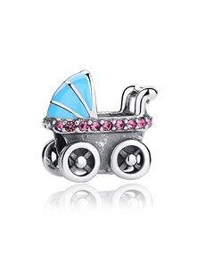 gifts: Silver 925 Blue Enamel and Pink Cubic Baby Pram!