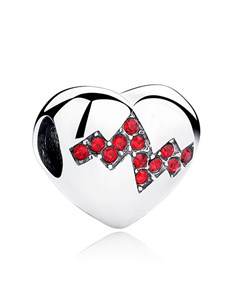 jewellery: Silver 925 Heart with Red Cubic Heart Beat Charm!